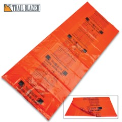"Trailblazer Survival Sleeping Bag - Heavy-Duty Orange PVC Construction, Printed Emergency Instructions, Weather-Resistant - Dimensions 29 1/2""x 74"""