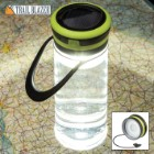 Trailblazer Solar Light Water Bottle - BPA Free, Built-In USB Charging Cable, Three Light Modes, 100 Lumens, Water-Resistant, TPR Hanger