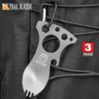"Trailblazer Spork Multi-Tool And Carabiner - Stainless Steel Construction, Bottle Opener, Screwdriver, Pry Tip, Wrenches - Length 4"" - BOGO"