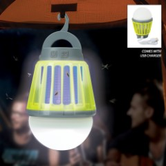 Aladdin Mosquito Killer USB Rechargeable Mini Lantern – Sturdy ABS, Three-Setting LED Light, Ultraviolet LED, Hanger Handle