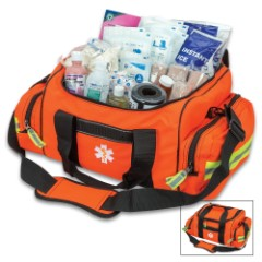 First Responder Bag – Spacious Compartments, Zippered Pockets, Complete Set Of First Aid Equipment, Shoulder Strap
