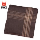 Fox Outdoor Products GI-Style Wool Blanket - NATO Replica - Camel-Striped Brown
