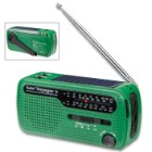 Kaito Green Voyager V2 SHTF Radio - Solar, Hand Crank, Shortwave, NOAA Weather, AM/FM, Compact Design, LED Light