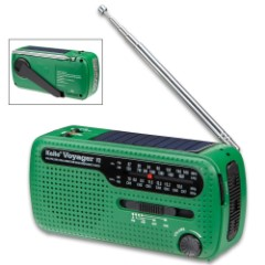 Kaito Green Voyager V2 SHTF Radio – Solar, Hand Crank, Shortwave, NOAA Weather, AM/FM, Compact Design, LED Light