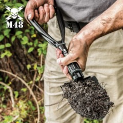 """M48 Folding Entrenching Tool With Pouch - 1050 Carbon Steel Construction, Black Heat-Treated Finish - Length 18 1/4"""""""