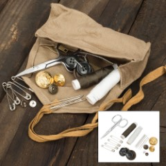 Italian Military Essential Repair Sewing Kit – Like New – Cotton Roll Pouch, Zippered Inside Pocket, Scissors, Needle And Thread