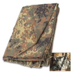 German Military Flecktarn Poncho And Camo Half Shelter – Used – Heavyweight Canvas, Nylon-Coated Interior, Grommets