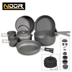 Ndur 9-Piece Cookware Mess Kit With Kettle