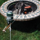 Outdoor Drink Holder With Hot Dog Fork Support