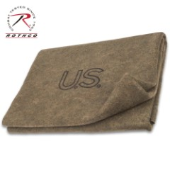 """Rothco Olive Drab Wool Blanket – Made In The USA, Naturally Fire Retardant, Virgin Wool Construction – 62""""x 80"""""""