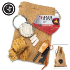 UST Heritage Campfire Kit – Classic Fire Starting Necessities, Burlap Carrying Bag, Step-By-Step Instructions