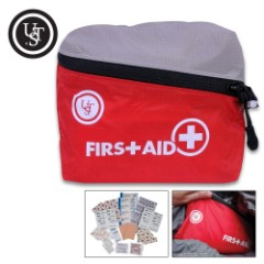 """UST Featherlite First Aid Kit 1.0 - Contains Assortment Of First Aid Supplies, Nylon Cloth Bag With Zipper Closure - Dimensions 5 1/4""""x 4 1/2""""x 1 1/2"""""""