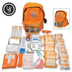 UST Be Ready Kit – Three-Day Survival For Three People, Durable Orange Backpack Filled With Survival Essentials