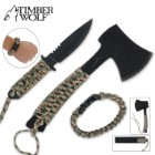 Timber Wolf Survival Axe, Full Tang Knife and Paracord Bracelet Set