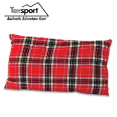 "Red Plaid Travel Camp Pillow And Storage Bag – Cotton Flannel, Polyester Insulation, Machine Washable – 10""x 20"""