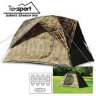 Headquarters Camo Square Dome Tent – Sleeps Five People, Heavy-Duty Taffeta, Rip-Stop Floor, Fiberglass Poles, Rainfly