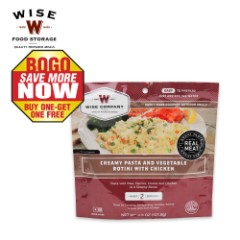 Wise 2-Serving Freeze Dried Meal Pouch Creamy Pasta and Vegetable Rotini with Chicken BOGO