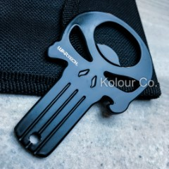 """Black Punisher Skull Bottle Opener With Belt Pouch - Solid 3Cr13 Steel Construction, Lanyard Hole - Dimensions 3 1/4""""x 2"""""""