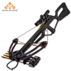 "Avalanche Hell Hawk Tactical Compound Hunting Crossbow With Four 20"" Aluminum Bolts, Scope And Quiver - 185-lb Draw, 370 FPS - 36"" Length"