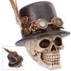 "Steampunk Skull Sculpture - ""Dapper Dead Sprockethead, The Mad Machinist"""