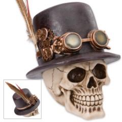 "Steampunk Skull Sculpture - ""Dapper Dead Sprockethead, The Mad Machinist"""