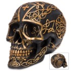 Dearly Departed Druid's Celtic Cranium Gaelic Knot Black Resin Skull