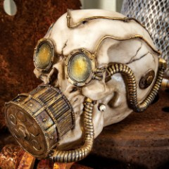 "Steampunk Gas Mask Skull Sculpture - ""Volataire M. Chemskul, Warden of the Vaporworks"""