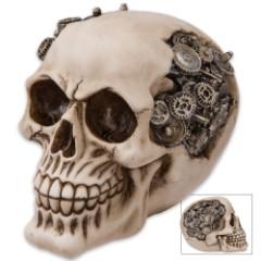 "Steampunk Gear Skull Sculpture - ""Gizmo Gearhead, the Steamdroid"""