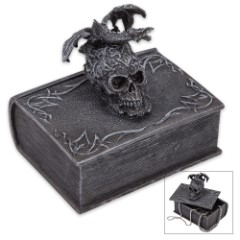 Terror Tome Trinket Box - Book-Shaped Polyresin Box Topped by Skull, Winged Dragon