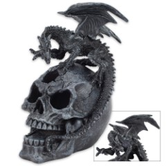 Dragon And Skull Statue With LED Light
