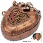 "Copper Mechanical Heart Steampunk Trinket Box - Crafted Of Polyresin, Hand-Painted, Removable Lid - Dimensions 4 1/4""x 3 1/2""x 2"""