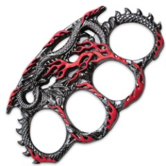 Hissing Dragon Red & Silver Knuckle Guard Paperweight