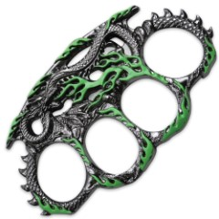 Hissing Dragon Green & Silver Knuckle Guard Paperweight