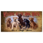 "Welcome to the Dog House | Wooden Sign with Hunting Dogs, Mallard Art | 7"" x 14"""