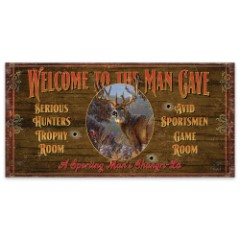 "Welcome to the Man Cave | Wooden Sign with Deer Art | 7"" x 14"""