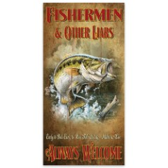 """Fishermen and Other Liars Always Welcome   Wooden Sign with Fish Art   15"""" x 30"""""""