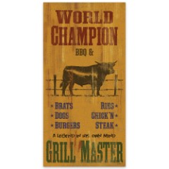 """World Champion BBQ & Grill Master   Vertical Wooden Sign with Steer Art   15"""" W x 30"""" H"""