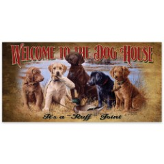 """Welcome to the Dog House   Wooden Sign with Hunting Dogs, Mallard Art   15"""" x 30"""""""