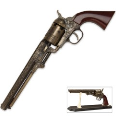 Black Powder Outlaw Revolver Replica With Stand