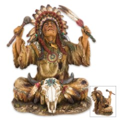 Native American Chief Resin Sculpture