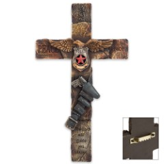 Law Enforcement Tribute Cross with Tactical Belt, Police Shield Accents - Resin Sculpture