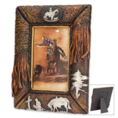 """Praying Cowboy Antiqued Western-Style Picture Frame - Fits 4"""" x 6"""" Pictures"""