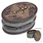 Golden Cross Rustic Turquoise Jewelry Box