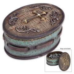 Golden Cross Rustic Turquoise Jewelry Box