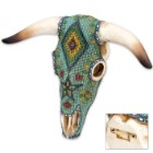 Fabric Covered Native American Art Bull Skull Plaque