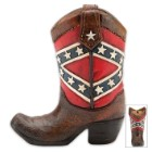 Confederate Flag Boot Bank - Cowboy Boot-Shaped Change Holder - Stars and Bars Motif