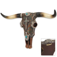 Leather Wrapped Longhorn Bull Skull with Ornamental Accents - Resin Sculpture / Plaque