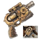 Quantum Cannon Steampunk Display Revolver - Polyresin Sculpture - Home / Office Decor, Mantle, Bookcase, Shelf, Man Cave, Bar, Desk - Pistol Revolver Handgun Neo Victorian Futuristic Sci Fi - 10 1/2""