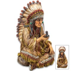 "Native American Chief With Peace Pipe Sculpture - Crafted Of Polyresin, Hand-Painted, Exceptional Detail - Dimensions 7 3/4""x 3 3/4""x 5 1/4"""