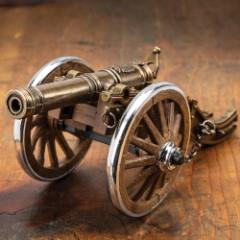 "Louis XIV Desk Cannon Lighter, Hand-Painted Details, Exact Replica - Dimensions, 7 1/2""x 2 1/2""x 3 1/4"